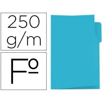 Subcarpeta cartulina gio folio pestaña izquierda 250 g m2 azul