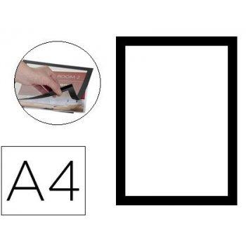 Marco porta anuncios q-connect magneto din a4 dorso adhesivo removible color negro pack de 2
