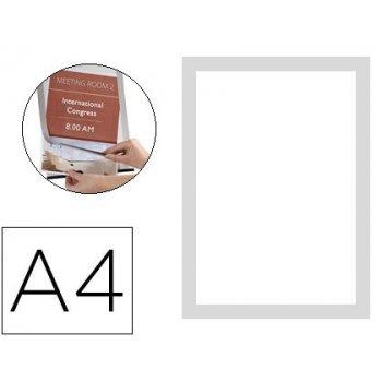 Marco porta anuncios q-connect magneto din a4 dorso adhesivo removible color plata pack de 2