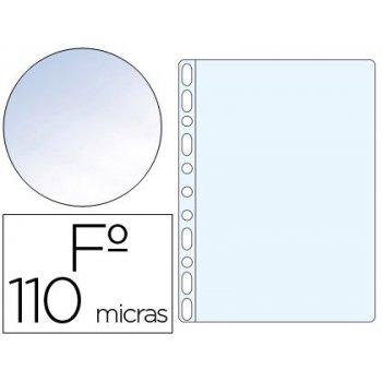 Funda multitaladro q-connect folio pvc 110 micras cristal caja 100 unidades