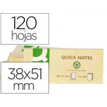 Bloc de notas adhesivas quita y pon q-connect 38x51 mm papel reciclado amarillo con 120 hojas