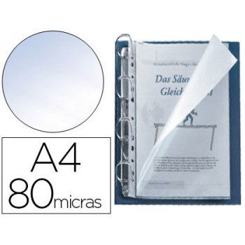 Funda multitaladro q-connect din a4 80 micras cristal con apertura superior y lateral izquierda bolsa de 25 unidades