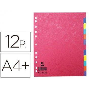 Separador q-connect cartulina brillo juego de 12 separadores din a4+