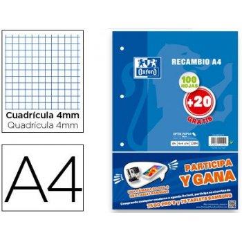 Recambio oxford din a4 100 + 20 hojas gratis 90 gr cuadro 4 mm 4 taladros