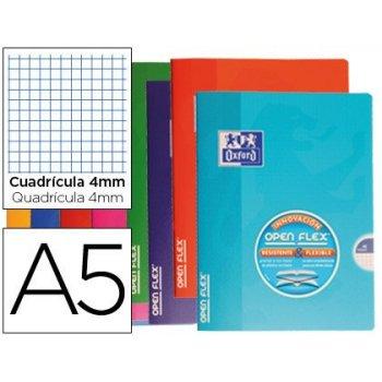 Libreta escolar oxford tapa flexible optik paper openflex 48 hojas 90 gr din a5 cuadro 4 mm colores surtidos