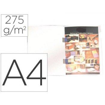 Subcarpeta plastificada gio din a4 blanca con cubre grapas 275 g m