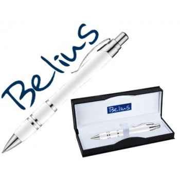 Boligrafo belius kassel blanco con detalles plateados en estuche