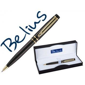 Boligrafo belius parma negro lacado con detalles dorados en estuche