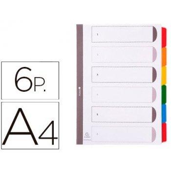 Separador exacompta cartulina juego de 6 separadores din a4 multitaladro color blanco multitalador