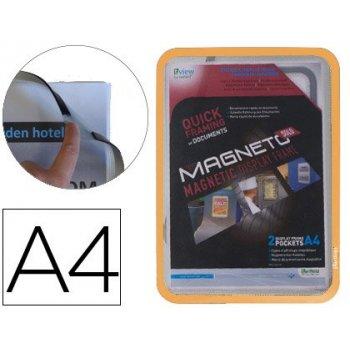 Marco porta anuncios tarifold magneto din a4 con 4 bandas magneticas en el dorso color naranja pack de 2 unidades