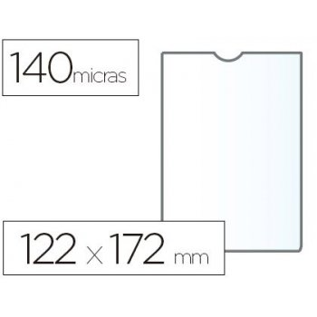 Funda portadocumento esselte transparente plastico 140 micras tamaño 122x172 mm