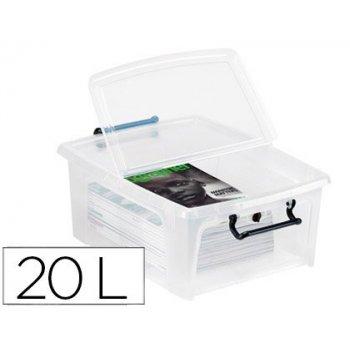 Contenedor plastico cep 20 litros 190x460x170 mm transparente con tapa y cierre hermetico