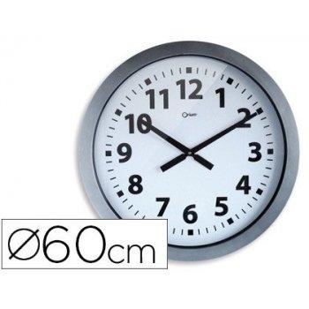 Reloj cep de pared plastico oficina redondo 60 cm de diametro color gris y esfera color blanco