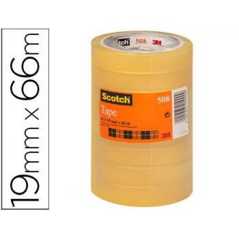 Cinta adhesiva scotch transparente 19mmx66 mt pack de 8