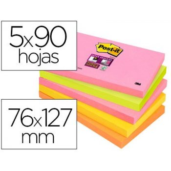 Bloc de notas adhesivas quita y pon post-it super sticky 76x127 mm con 90 hojas pack de 5 bloc colores surtidos