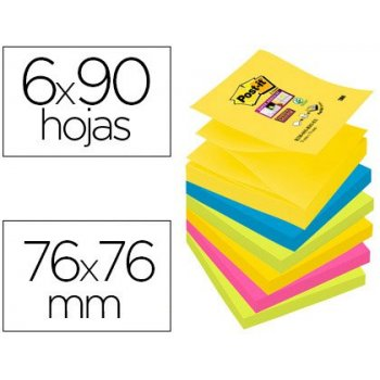 Bloc de notas adhesivas quita y pon post-it super sticky 76x76 mm con 90 hojas pack de 6 bloc colores surtidos