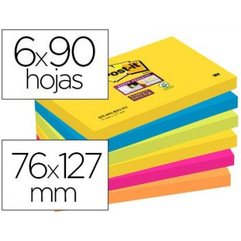 Bloc de notas adhesivas quita y pon post-it super sticky 76x127 mm con 90 hojas pack de 6 bloc colores surtidos