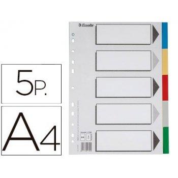 Separador esselte plastico juego de 5 separadores din a4 con 5 colores multitaladro