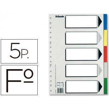 Separador esselte plastico juego de 5 separadores folio con 5 colores multitaladro