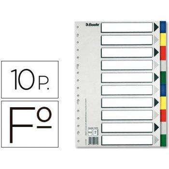 Separador esselte plastico juego de 10 separadores folio con 5 colores multitaladro