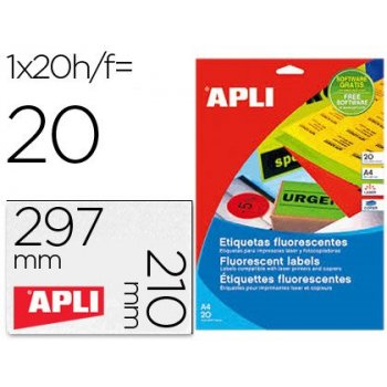 Etiqueta adhesiva apli 02879 210x297 mm para fotocopiadora laser caja con 20 hojas din a4 naranja
