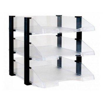 Bandeja sobremesa archivo 2000 plastico transparente con elevadores negro conjunto de 3 bandejas 280x285x350 mm