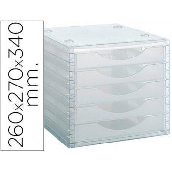 Fichero cajones de sobremesa archivo 2000 260x270x340 mm apilables 5 cajones transparente translucido