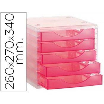 Fichero cajones de sobremesa q-connect 260x270x340 mm apilables 5 cajones rosa translucido