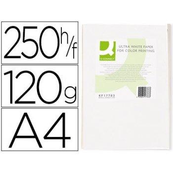 Papel fotocopiadora q-connect ultra white din a4 120 gramos paquete de 250 hojas