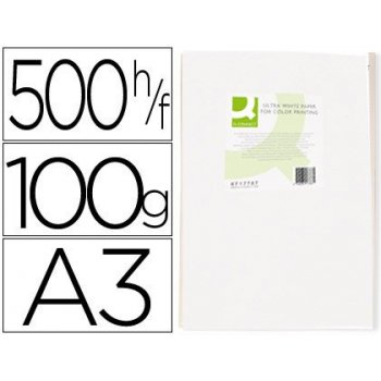 Papel fotocopiadora q-connect ultra white din a3 100 gramos paquete de 500 hojas