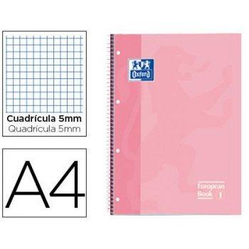 Bloc espiral oxford tapa extradura microperforado din a4 80 hojas cuadros 5 mm color rosa dulce