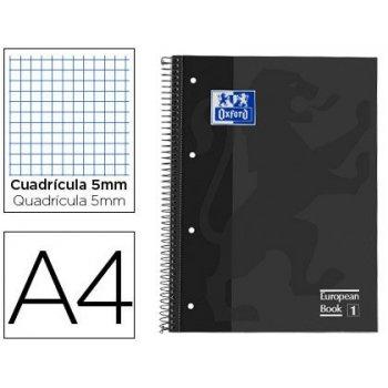 Bloc espiral oxford european book tapa extradura din a4 80 hojas cuadricula 5 mm color gris