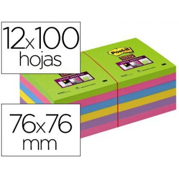 Bloc de notas adhesivas quita y pon post-it super stick ultra 76x76 mm pack de 12 bloc verde rosa amarilla