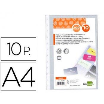 Recambio fundas liderpapel din a4 para tarjetero bolsa de 10 hojas capacidad 20 tarjetas por hoja