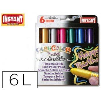 Tempera solida en barra playcolor pocket escolar caja de 6 colores metalizados