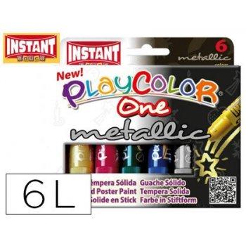 Tempera solida en barra playcolor escolar caja de 6 colores metalizados surtidos