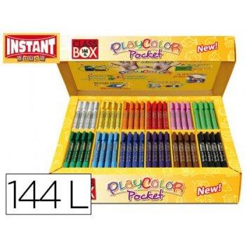 Tempera solida en barra playcolor pocket escolar caja de 144 unidades 12 colores surtidos