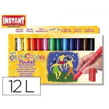 Tempera solida en barra playcolor pocket escolar caja de 12 colores surtidos