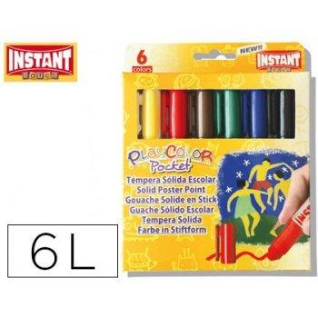Tempera solida en barra playcolor pocket escolar caja de 6 colores surtidos