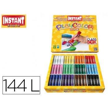 Tempera solida en barra playcolor escolar caja de 144unidades 12 colores surtidos