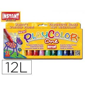 Tempera solida en barra playcolor escolar caja de 12 colores surtidos