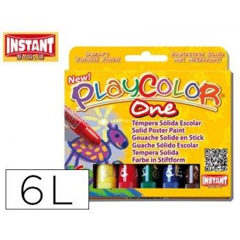 Tempera solida en barra playcolor escolar caja de 6 colores surtidos