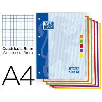 Recambio color oxford din a4 80 hojas 90 gr optik paper cuadros 5mm 4 taladros