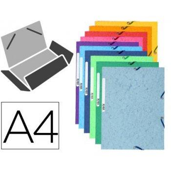 Carpeta exacompta gomas cartulina lustrada tres solapas din a4 colores surtidos