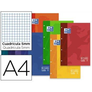 Recambio color oxford din a4 80 hojas 90 grs cuadros 5 mm 4 taladros colores surtidos paquete de 30