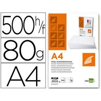 Papel liderpapel a4 80g m2 paquete de 500 hojas blanco microperforado en tres partes iguales