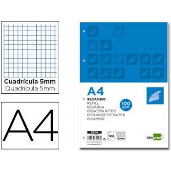 Recambio liderpapel a4 100 hojas 100 g m2 cuadro 5 mm 4 taladros bandas de 5 colores