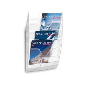 Expositor mural cep de pared con 5 compartimentos transparente y blanco 580x122x350mm