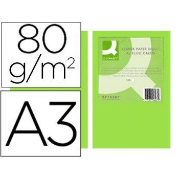 Papel color q-connect din a3 80gr verde neon paquete de 500 hojas