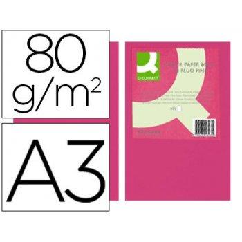 Papel color q-connect din a3 80gr rosa neon paquete de 500 hojas
